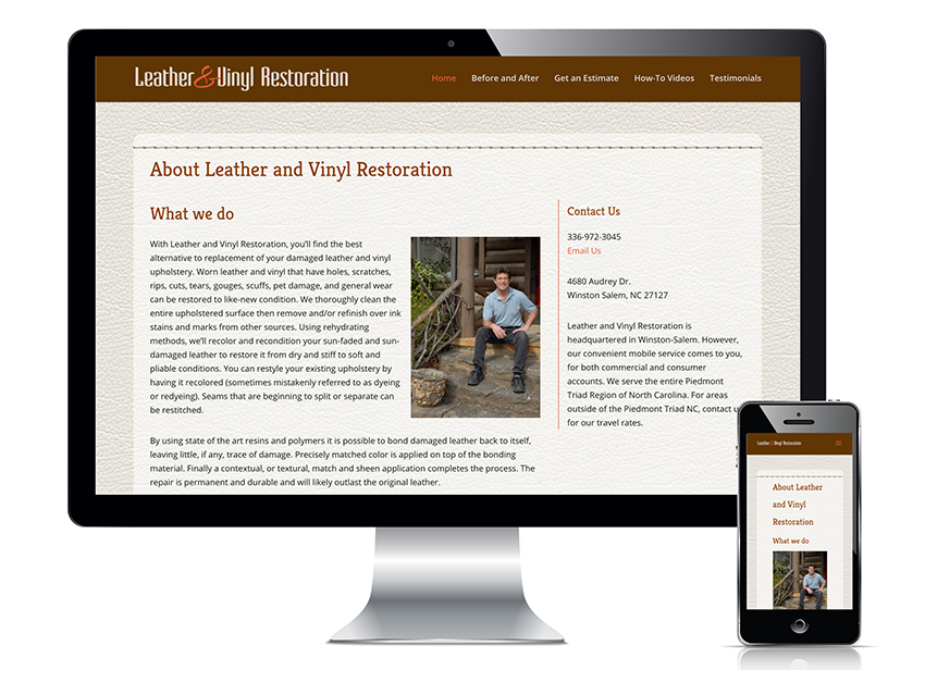 Leather and Vinyl Restoration website design