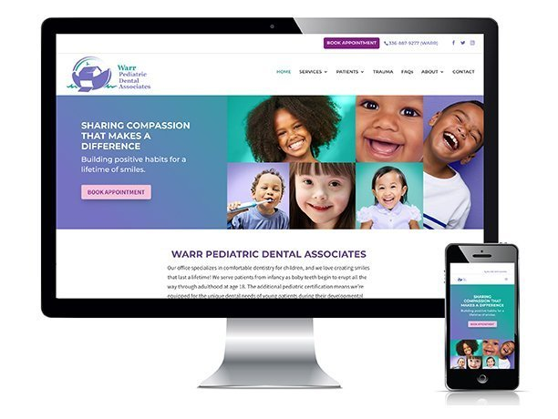 Warr Pediatric Dental Associates High Point website design