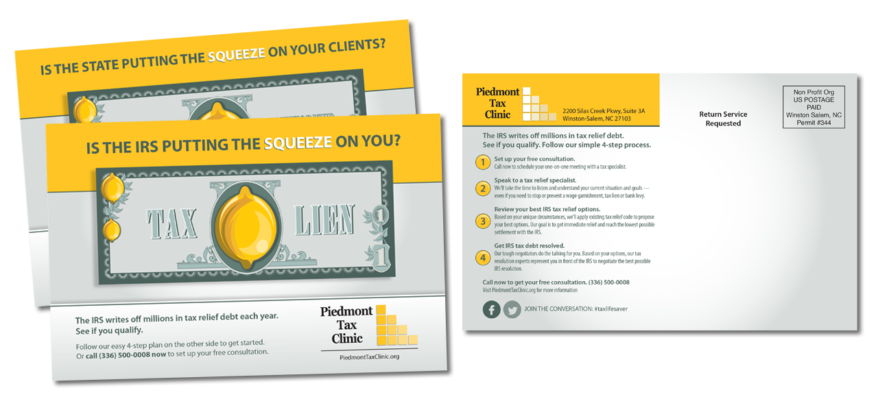Piedmont Tax Clinic direct mail campaign graphic design