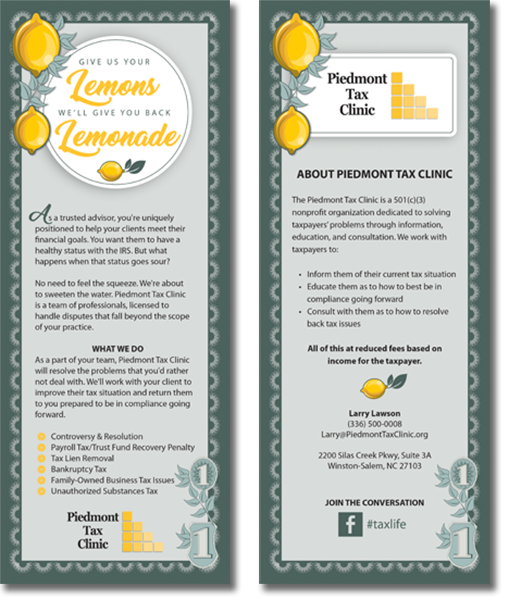 Piedmont Tax Clinic rack card graphic design