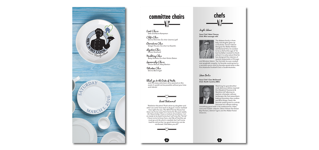 graphic design for nonprofit fundraiser event program, SECU Family House Men Who Cook