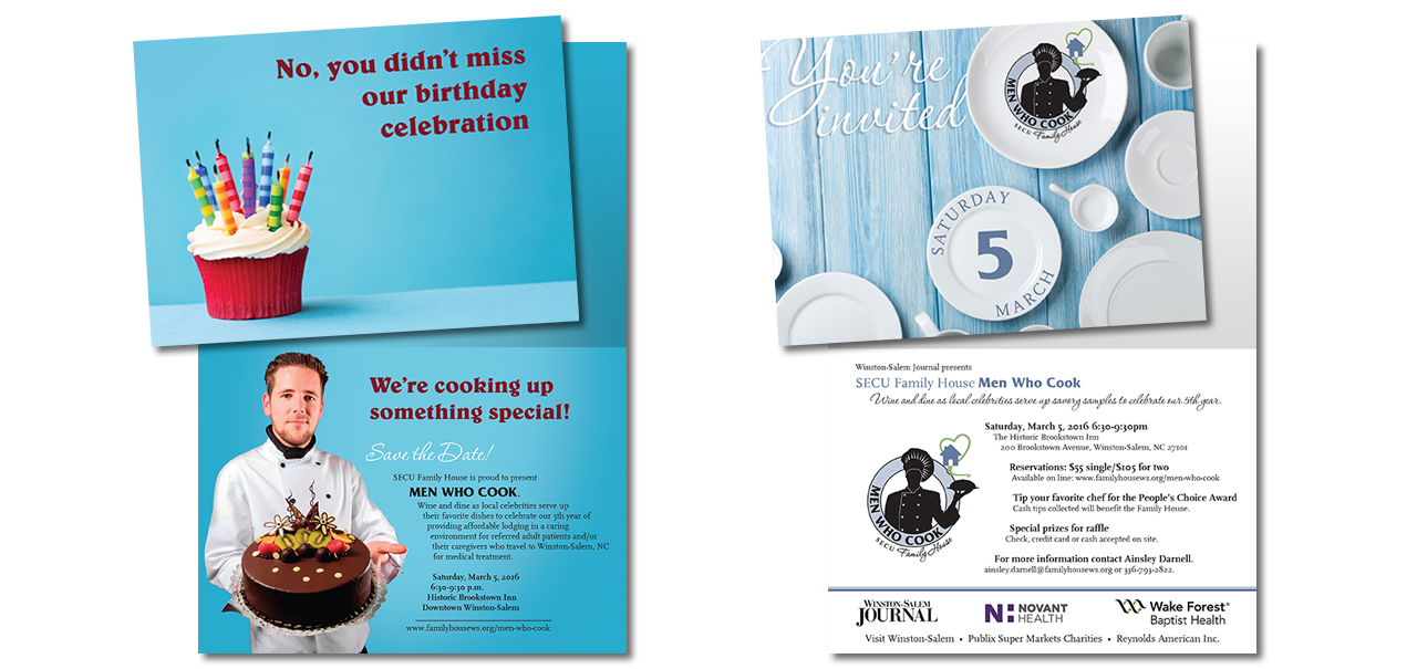 nonprofit fundraising event invitation graphic design