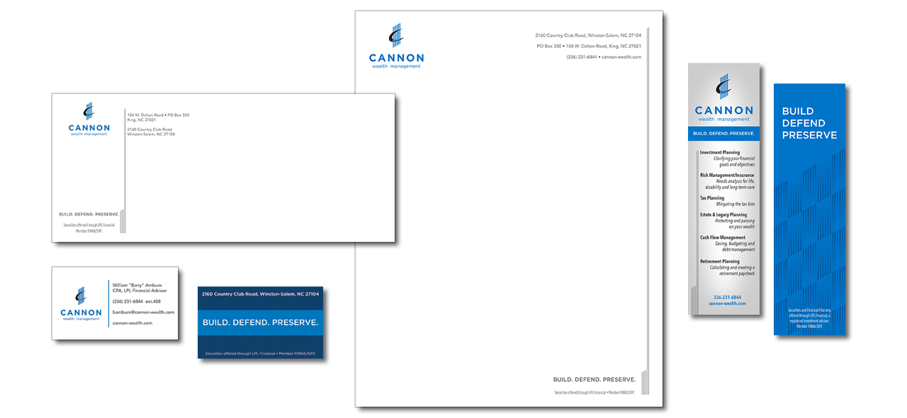 letterhead, envelope, and business card design for branding project